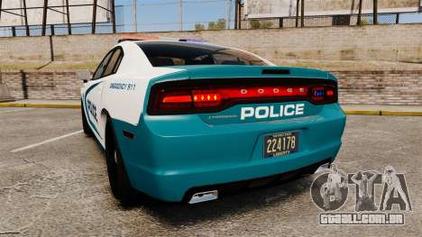 Dodge Charger 2013 Patrol Supervisor [ELS] para GTA 4 traseira esquerda vista