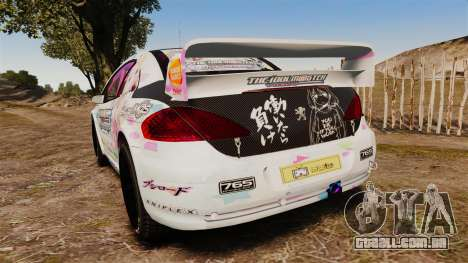 Peugeot 307 WRC The Idolmaster Cinderella Girls para GTA 4 traseira esquerda vista