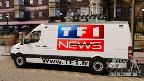 Mercedes-Benz Sprinter TF1 News [ELS] para GTA 4 esquerda vista