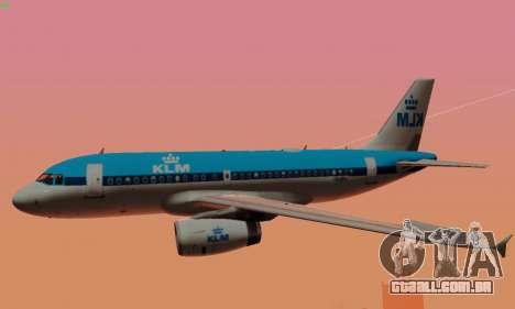 Airbus A319 KLM para as rodas de GTA San Andreas