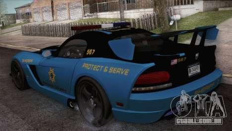 Dodge Viper SRT 10 ACR Police Car para GTA San Andreas traseira esquerda vista