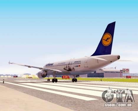 Airbus A320-200 Lufthansa para GTA San Andreas vista interior