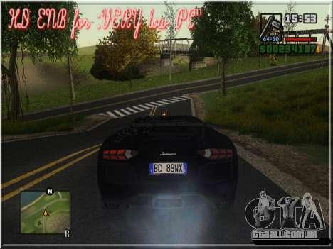 HD ENB for very low PC para GTA San Andreas sexta tela