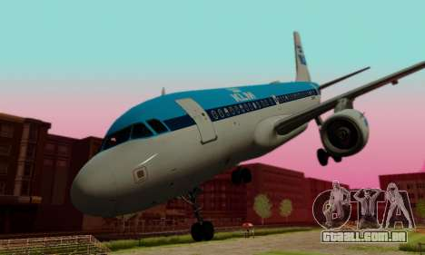 Airbus A319 KLM para vista lateral GTA San Andreas