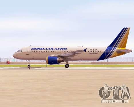 A Airbus A320-200 Donbassaero para GTA San Andreas esquerda vista