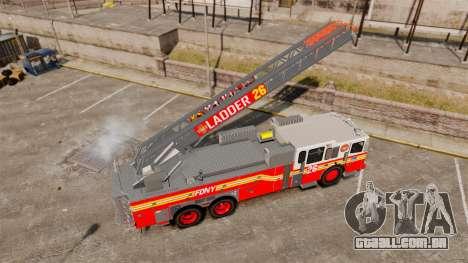Ferrara 100 Aerial Ladder FDNY [working ladder] para GTA 4 vista de volta