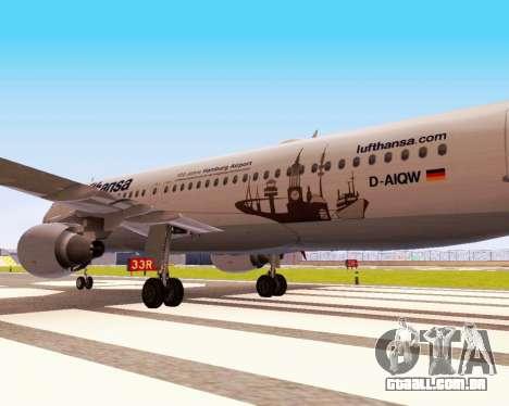 Airbus A320-200 Lufthansa para GTA San Andreas vista traseira