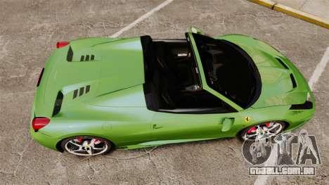 Ferrari 458 Spider Speciale para GTA 4 vista direita