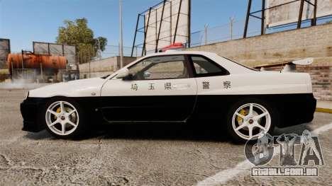 Nissan Skyline GT-R R34 Saitama Police para GTA 4 esquerda vista