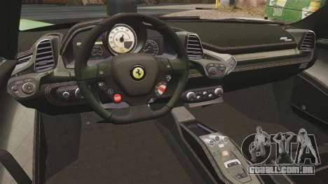 Ferrari 458 Spider Speciale para GTA 4 vista de volta