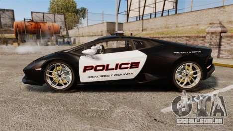 Lamborghini Huracan Cop [Non-ELS] para GTA 4 esquerda vista