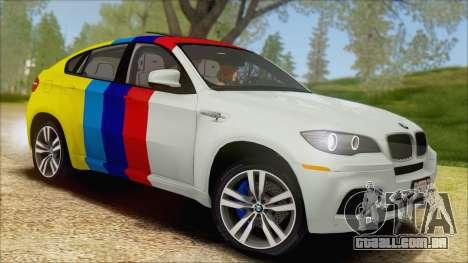 BMW X6M E71 2013 300M Wheels para GTA San Andreas vista superior