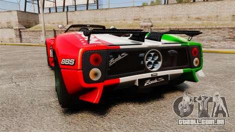 Pagani Zonda C12 S Roadster 2001 PJ6 para GTA 4 traseira esquerda vista