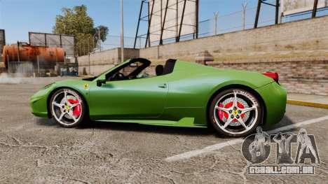 Ferrari 458 Spider Speciale para GTA 4 esquerda vista