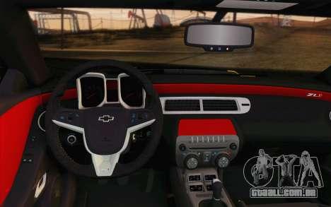 Chevrolet Camaro ZL1 2011 para GTA San Andreas vista inferior