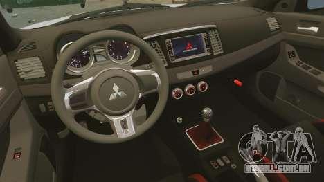 Mitsubishi Lancer Evolution X FQ400 para GTA 4 vista superior