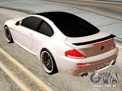 BMW M6 Hamann para GTA San Andreas traseira esquerda vista