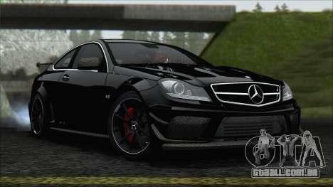 Mercedes C63 AMG Black Series 2012 para GTA San Andreas traseira esquerda vista