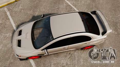 Mitsubishi Lancer Evolution X FQ400 para GTA 4 vista direita