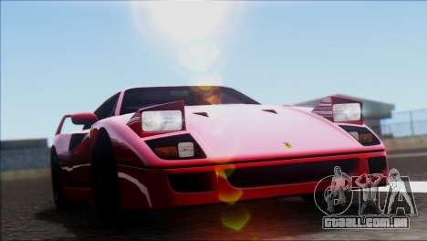 Ferrari F40 1987 para GTA San Andreas traseira esquerda vista