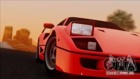 Ferrari F40 1987 para GTA San Andreas esquerda vista