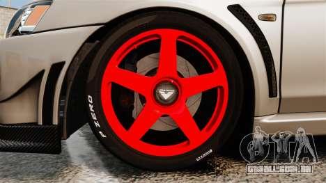 Mitsubishi Lancer Evolution X FQ400 para GTA 4 vista de volta