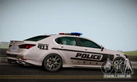 Lexus GS350 F Sport Series IV Police 2013 para GTA San Andreas vista direita