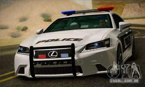 Lexus GS350 F Sport Series IV Police 2013 para GTA San Andreas esquerda vista