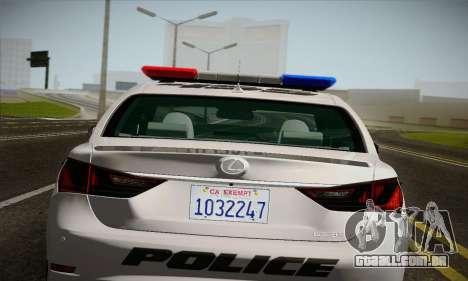 Lexus GS350 F Sport Series IV Police 2013 para GTA San Andreas vista traseira