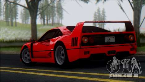 Ferrari F40 1987 para vista lateral GTA San Andreas