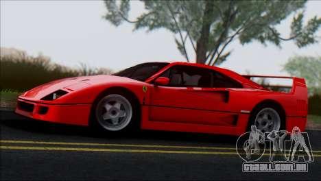 Ferrari F40 1987 para GTA San Andreas vista traseira