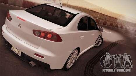 Mitsubishi Lancer Evolution para GTA San Andreas esquerda vista