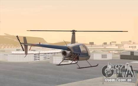 Robinson R22 para GTA San Andreas esquerda vista