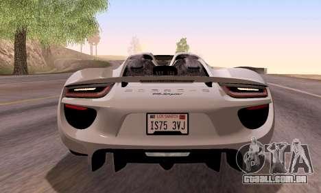 Porsche 918 2013 para vista lateral GTA San Andreas