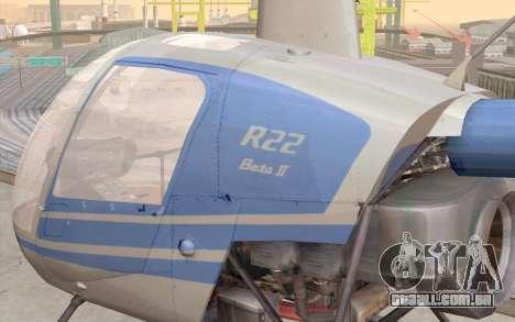 Robinson R22 para GTA San Andreas vista interior