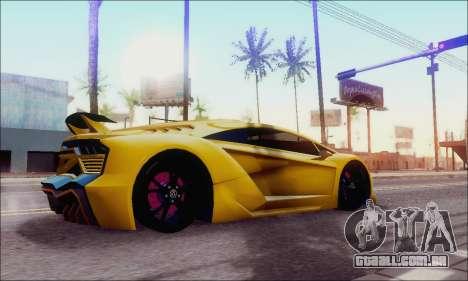 Zentorno GTA 5 V.1 para GTA San Andreas esquerda vista