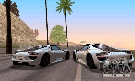 Porsche 918 2013 para GTA San Andreas vista direita