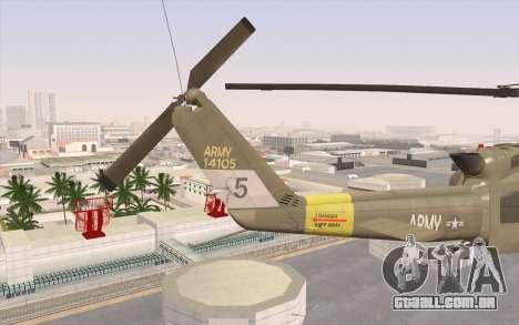 UH-1 Huey para GTA San Andreas traseira esquerda vista