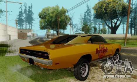 Dodge Charger 1969 Hard Rock Cafe para GTA San Andreas vista traseira