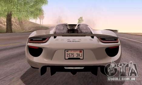 Porsche 918 2013 para GTA San Andreas vista interior
