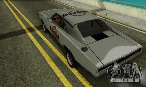 Dodge Charger 1969 Hard Rock Cafe para GTA San Andreas traseira esquerda vista