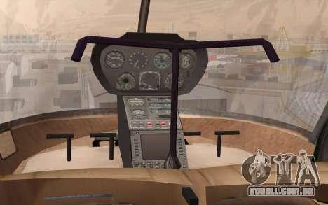 Robinson R22 para GTA San Andreas vista traseira