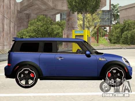 Mini Cooper Clubman JCW para GTA San Andreas traseira esquerda vista