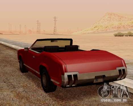 Sabre Conversível para GTA San Andreas traseira esquerda vista