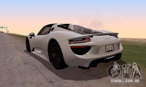 Porsche 918 2013 para GTA San Andreas esquerda vista
