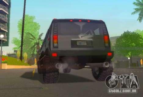 Hummer H2 Limousine para GTA San Andreas vista traseira