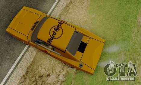 Dodge Charger 1969 Hard Rock Cafe para GTA San Andreas vista interior
