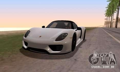 Porsche 918 2013 para GTA San Andreas traseira esquerda vista