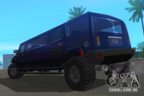 Hummer H2 Limousine para GTA San Andreas traseira esquerda vista