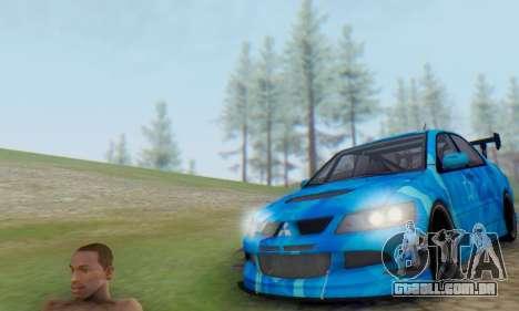 Mitsubishi Lancer Evolution IIIX Blue Star para GTA San Andreas traseira esquerda vista